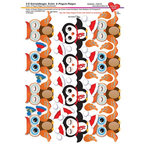 3-D Schneidbogen, DIN A4, Eulen- & Pinguin-Reigen