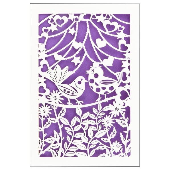"""Laser-Grußkarte """"Hochzeit 5"""", 12x18cm, mit Umschlag & violettem Einleger"""