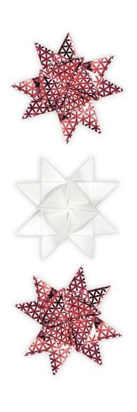 Fröbelsterne, weinrot/weiß, mit Perleffekt und glänzender Folienveredelung, 80 Faltstreifen