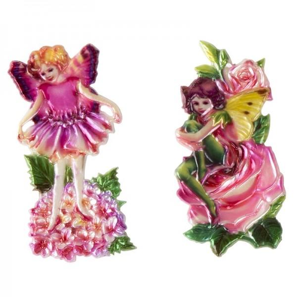 Wachsornamente, Elfen auf Blumen, 2 Stück