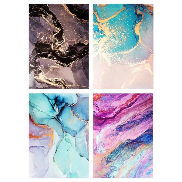 Motiv-Glossy-Karton, Marmor-Effekte, 4 verschiedene Designs, DIN A4, 20 Bogen