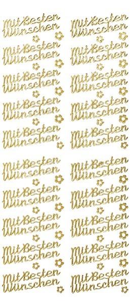 Sticker, Schrift, mit besten Wünschen, gold