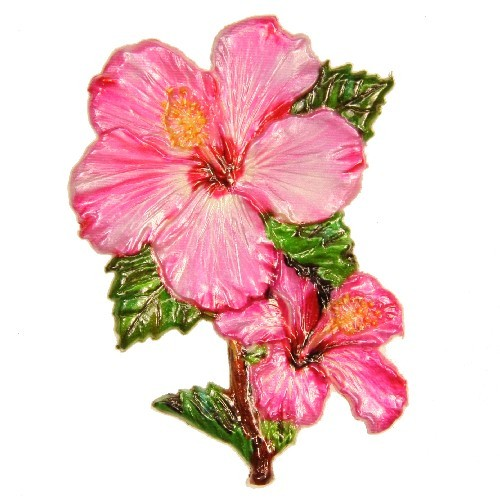 Wachsornament Hibiscus, 8,5 x 6 cm