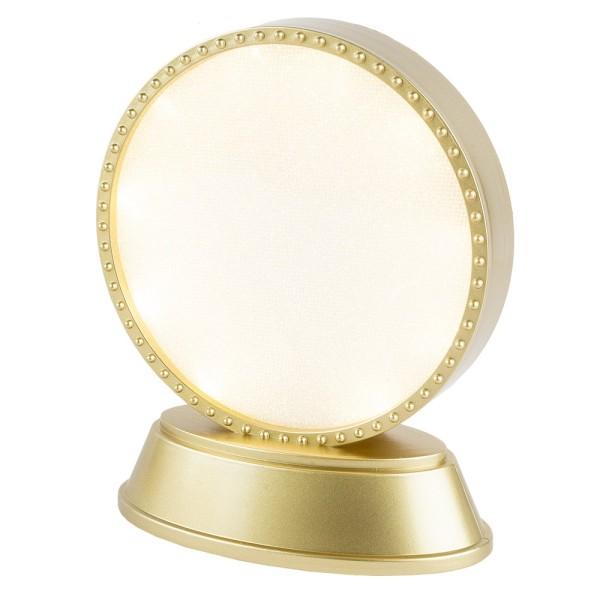 LED-Relaxleuchte, Rundform, Ø 11,7cm, Diamant-Lichteffekt-Folie, 10 LEDs, Warmweiß, gold