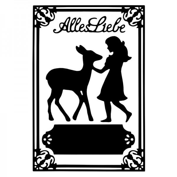 Stanzschablonen, Mädchen mit Kitz & Alles Liebe, 4 Stück