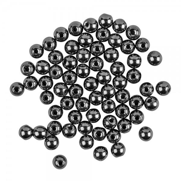 Perlen, rund, glänzend, Ø 6mm, 38cm langer Strang, anthrazit, 60 Stück