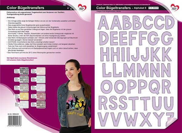 Color Bügeltransfers, DIN A4, Alphabet 8, flieder