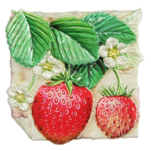 Wachsornament, Erdbeeren, farbig, geprägt, 7,5x7,5cm