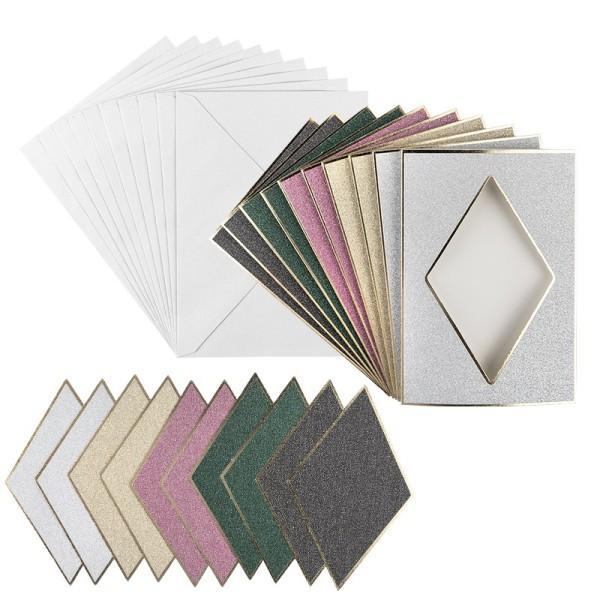 3-Fach-Grußkarten, Passepartout, Raute, B6, 5 versch. Farben, inkl. Umschläge, 10 Stück