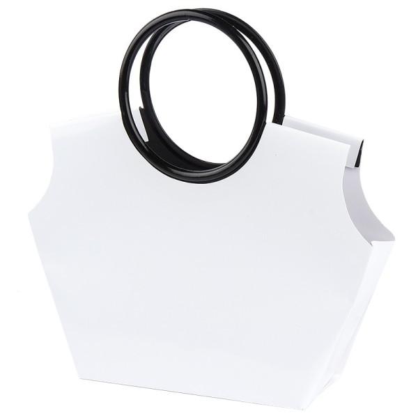 Lack-Taschen mit Henkeln, Stanzformen, Lackpapier, weiß, 21,5cm, 5 Stück