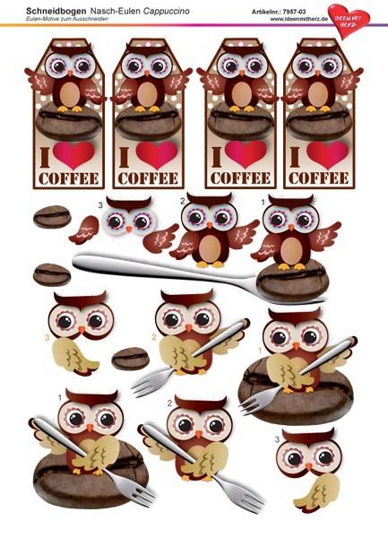 3-D Schneidbogen, DIN A4, Nasch-Eulen, Cappuccino-Design