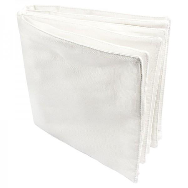 Stoff-Buch, 23,5cm x 25,5cm, 12 Seiten, naturweiß
