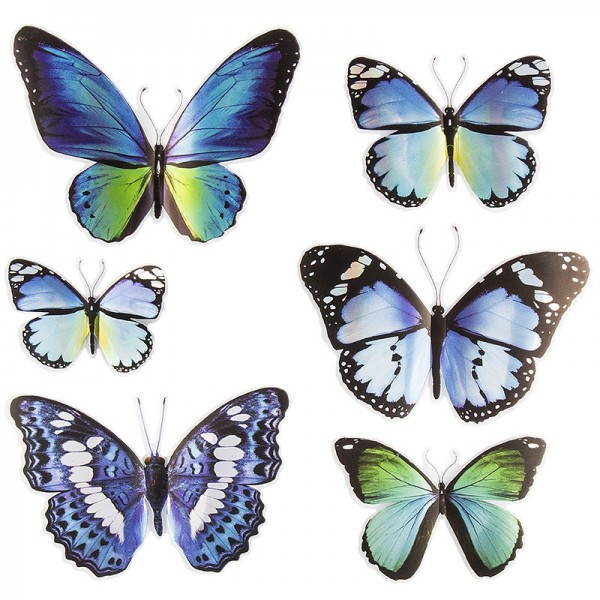 Pop-Up Sticker, Schmetterlinge 1, 19cm x 21cm, Blautöne, 6 Sticker