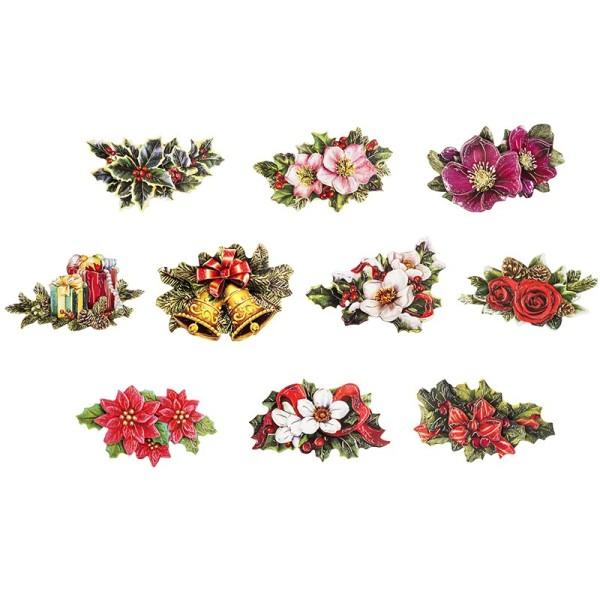 3-D Motive, Weihnachts-Floristik 1, 5-9,5cm, 10 Stück