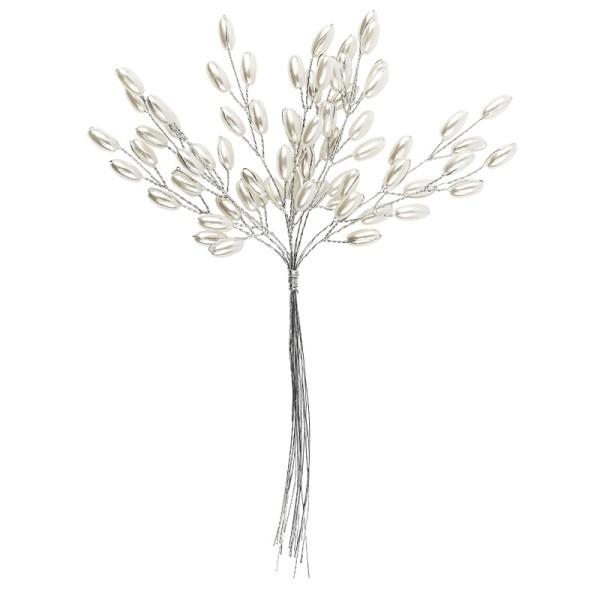 Deko-Perlenzweige, Oval, 19cm, perlmutt, natur, 10 Stück