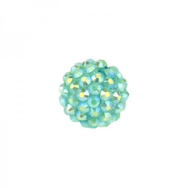 Kristall-Perlen, Ø14 mm, 10 Stück, türkis-irisierend