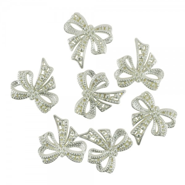 Perlmutt-Schmucksteine, Schleife, 4,5cm x 4,5cm, lindgrün, 7 Stück