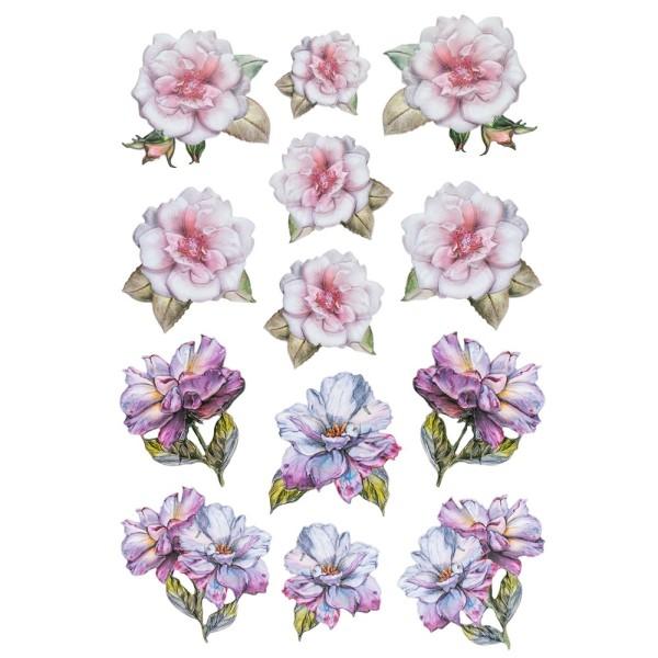 3-D Relief-Sticker, Blumen & Schmetterlinge 4, 21cm x 30cm, verschiedene Größen, selbstklebend