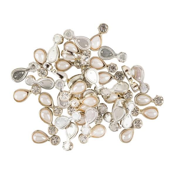Premium-Schmucksteine, Tropfen, 1,8cm x 0,8cm, hellgold, Halbperle & Glaskristallen, 40 Stück