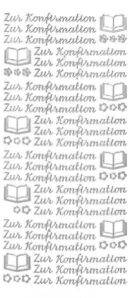 Sticker, Schrift, Konfirmation,  silber