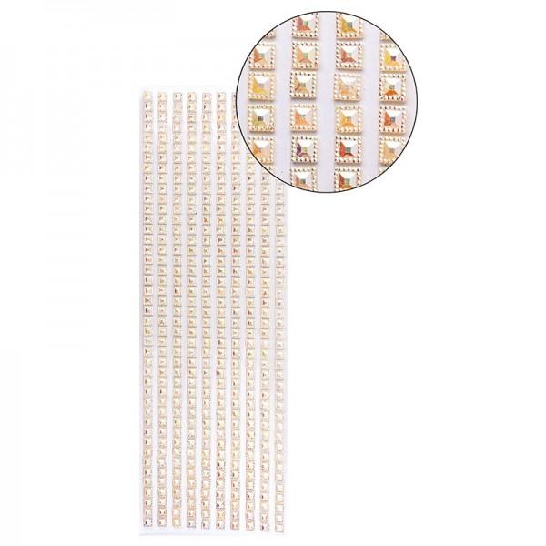 Schmuckstein-Bordüren, selbstklebend, facettiert, irisierend, Quadrate 6 x 6 mm, 29 cm, lachs