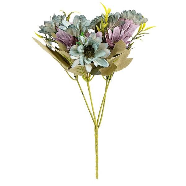 Blütenbusch, Margeriten 28cm hoch, 10 große Blüten Ø 4cm, Blautöne,