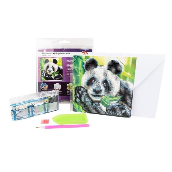 Diamond-Painting-Grußkarte, Panda, 16cm x 16cm, 370g/m², inkl. Umschlag & Werkzeug