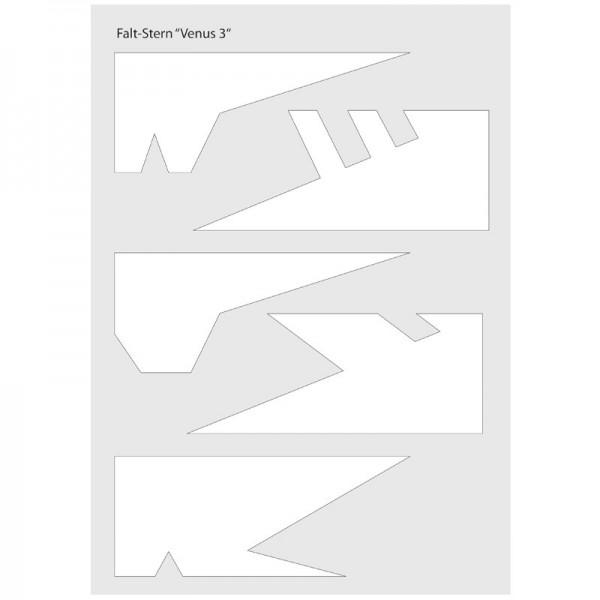 """Schablone Falt-Stern """"Venus 3"""", 5 verschiedene Sternspitzen, inkl. Anleitung"""