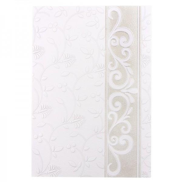 Exquisit-Grußkarten mit Top-Prägung, B6, 10 Stück, weiß mit Bordüre