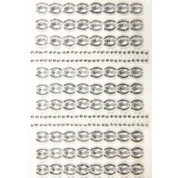 Ornament-Glitzerstein-Bordüren, selbstklebend, Design 3, klar