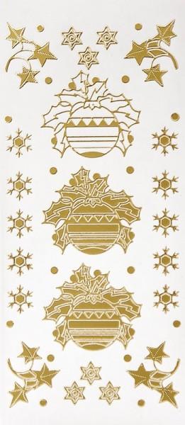 Sticker, Weihnachtskugeln & Deko, Perlmuttfolie, gold