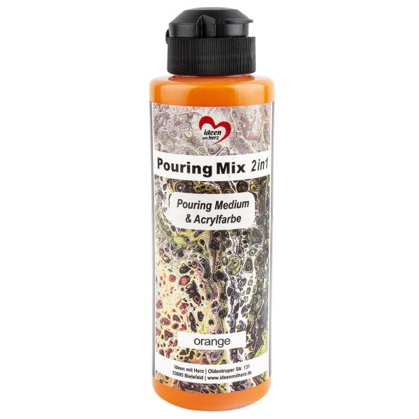 Pouring Mix, 2 in 1, Pouring Medium & Acrylfarbe, orange, 180ml