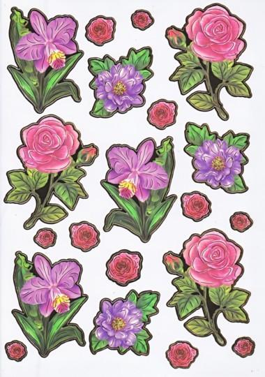 Ultra Gloss Sticker Bogen, Rosen & Blumen