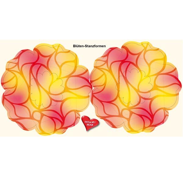 Blüten-Stanzbogen, 2 Blüten, Ø15cm, gelb/rot, 6er Set