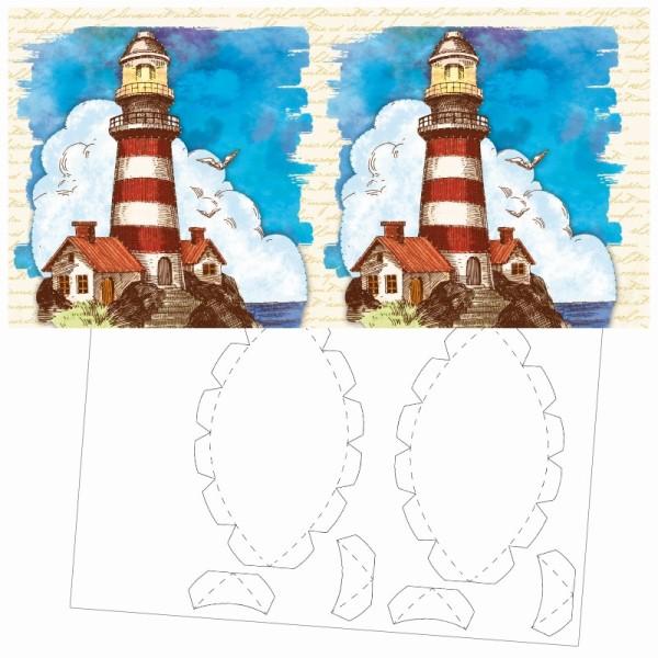 Prickel-Karte, Leuchtturm, inkl. Böden & Ecken, 16cm x 16cm