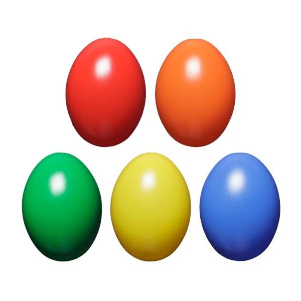 Kunststoff-Eier mit Loch, 6 cm hoch, Ø 4,5 cm, kräftige Farbtöne, 10 Stück