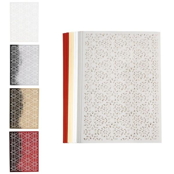 Laser-Kartenaufleger, Zierdeckchen Sterne, 14,8cm x 10,5cm, 4 Farbtöne, 20 Stück