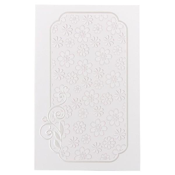 Exquisit-Grußkarten mit Top-Prägung, 16,9 x 10,9 cm, 10 Stück, weiß/rosé mit Blüten