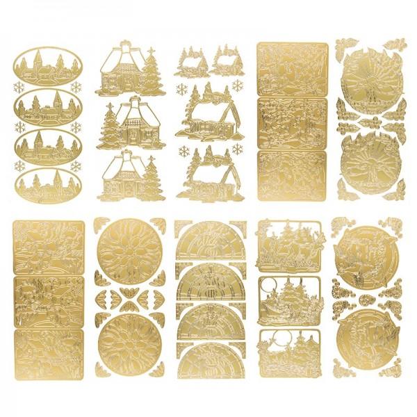 Sticker, Winterdörfer, Tiere und mehr, gold, 10 Stück