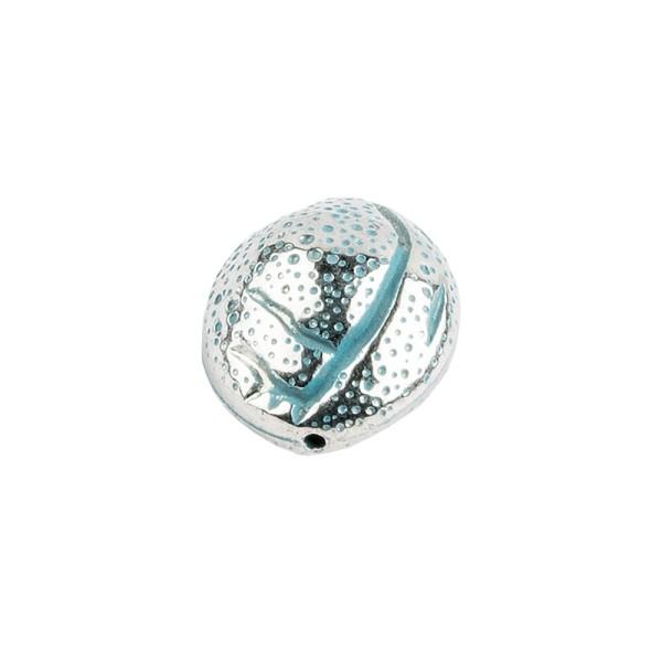 Perlen, Oval, metallic, 2cm x 1,8cm x 1,4cm, silber-türkis, 12 Stück