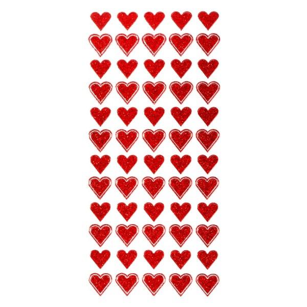 Microglitter-Sticker, Herzen, rot