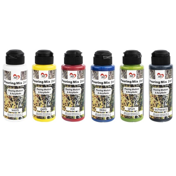 Pouring-Mix 1, 2 in 1, Pouring-Medium & Acrylfarbe, 6 Flaschen, 120ml