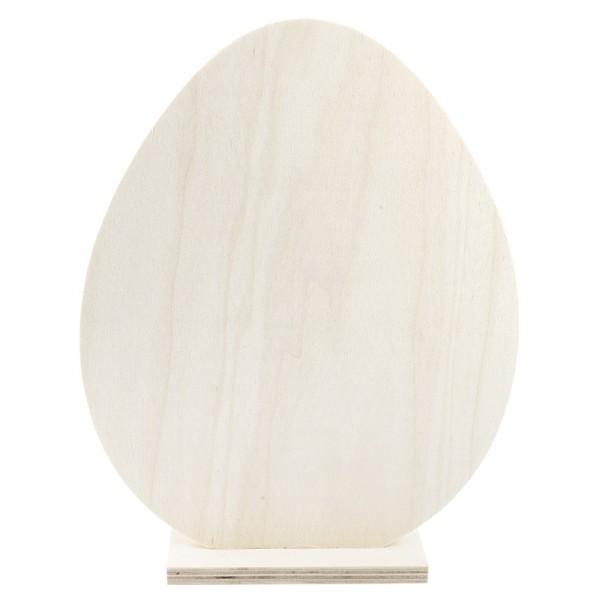 Deko-Ei aus Holz zum Aufstellen, 27cm x 21cm x 4,2cm