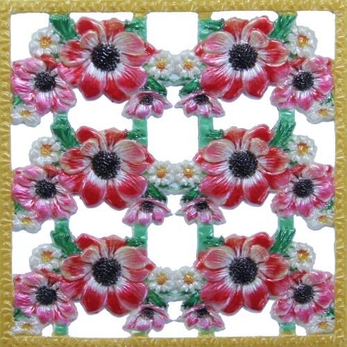 Wachsornament-Platte Anemonen, farbig, geprägt, 10x10cm