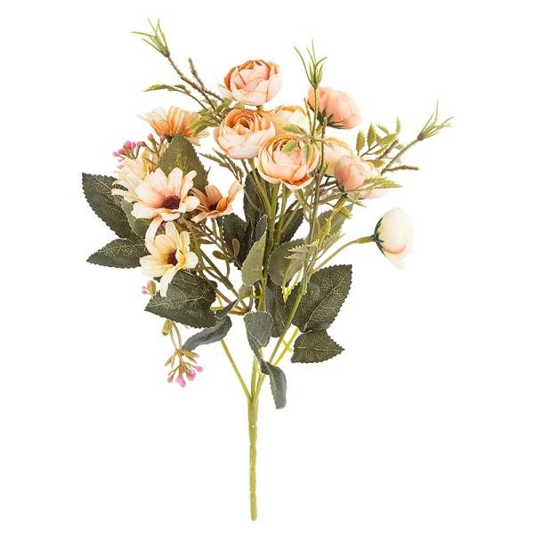 Blütenbusch, Rosen & Margeriten, 28cm hoch, 15 große Blüten Ø 2,5cm, Apricottöne
