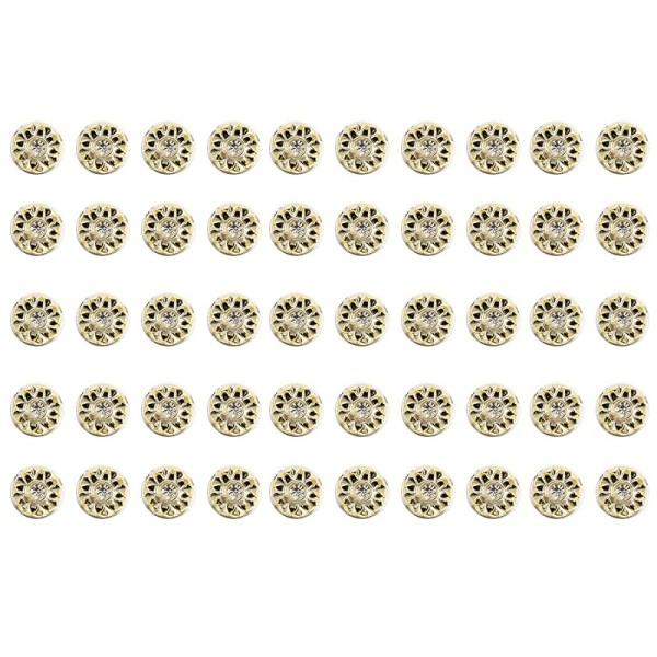 Premium-Schmucksteine, Strass-Zierstein 3, Ø 1,4cm, mit Glas-Kristallen, hellgold, 50 Stück