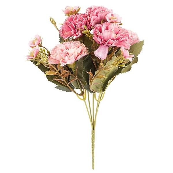 Blütenbusch, Nelken 2, 28cm hoch, 5 große Blüten Ø 4,5cm, Rosatöne