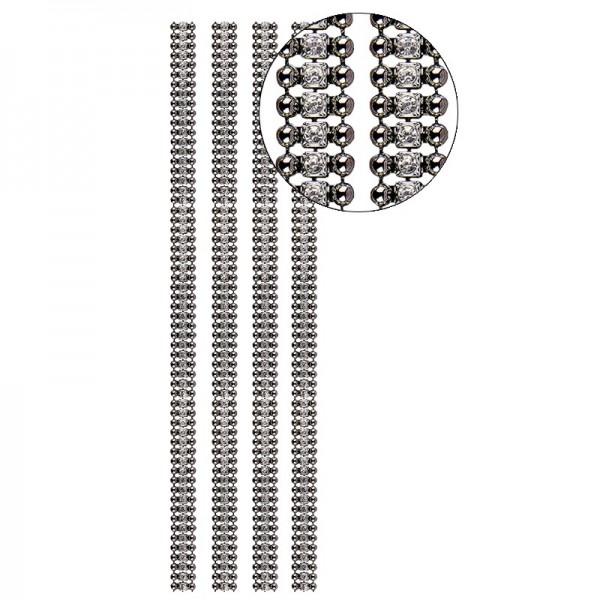 Premium-Schmuck-Bordüren Charme, 28cm, mit Glas-Kristallen, anthrazit
