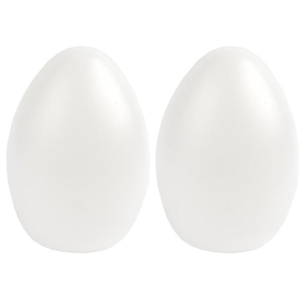 Deko-Eier, Ø 8,7cm, 12cm hoch, transluzent, weiß, 2 Stück