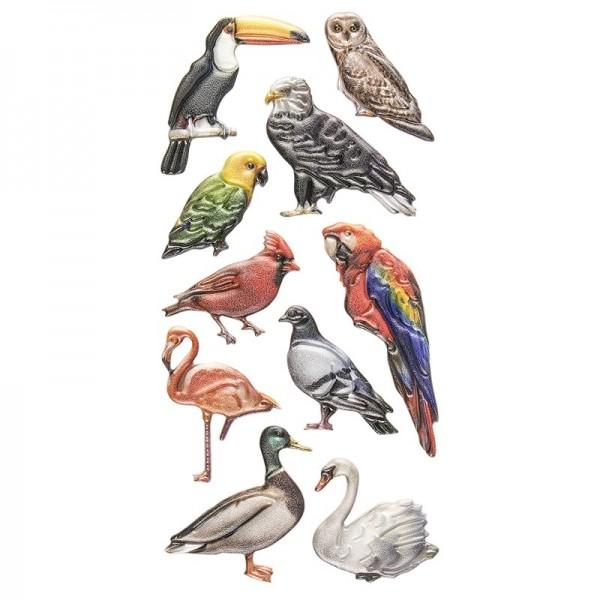 Relief-Sticker, Vögel, 17,5cm x 9cm
